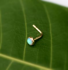 Opal Nose Ring Stud Gold Filled Handcrafted