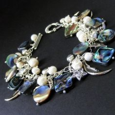 Northern Lights Celestial Charm Bracelet in Abalone and Pearls by Gilliauna