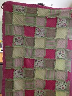 Rag Quilt: Made for my daughter using her old receiving blankets.