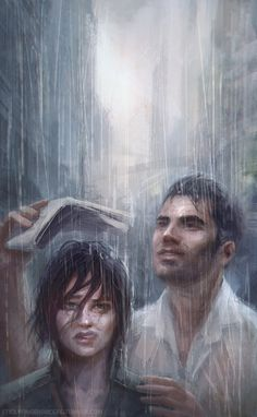 """""""Raincouver.""""  I've just had this image in my head of Shepard, who's much more comfortable on a spaceship, thoroughly not enjoying the lovely Vancouver weather. Kaidan, of course, thinks it's romantic..but he's kinda calm and loving like that-which is why he's such a good match for Shepard with her usual anger, annoyance and stress. :)"""