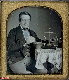 ca. 1850's, [daguerreotype portrait of a druggist/chemist with his tools] via the Daguerreian Society, Robert E. Haines Collection