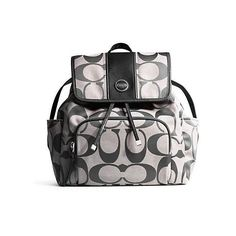 Coach Signature Stripe Backpack - Black White ❤ liked on Polyvore featuring bags, backpacks, genuine leather bags, real leather backpack, leather knapsack, leather daypack and leather rucksack