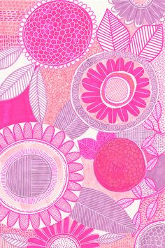 sketchbook illustration, surface design, pattern, susan black, botanical, pink, floral, drawing
