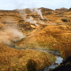 Natural hot spring, Iceland #landscape #hot #springs #mountains #flows #stream #sand #red hills #meandering #iceland #iphone #travel