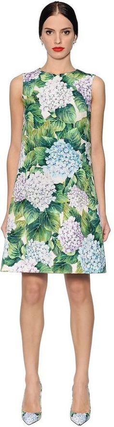 Dolce & Gabbana Hydrangea Cotton Blend Brocade Dress