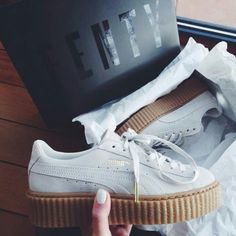 Puma creepers by Rihanna killin it Sock Shoes, Cute Shoes, Me Too Shoes, Shoe Boots, Sneaker Outfits, Platform Sneakers, Shoes Sneakers, Shoes Heels, Puma Sneakers