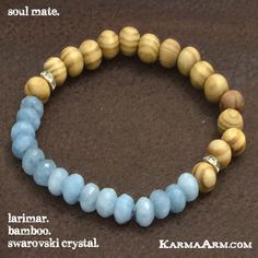 SLarimar is an excellent stone for helping soul mates to find and recognize each other. It will heal negative karma between soul mates and lovers.   SOUL MATE: Larimar + Bamboo #yoga #Mala #Bead #Bracelet #mens #bracelets #womens #mens #energy #healing #spiritual #meditation #crystal #crystals #love #style #luck #lucky #artisan #handmade #jewelry #OOAK #fashion #love #blessed #black #design #karma #buddha #larimar #swarovski