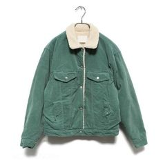 Jacket - 70s (€101) ❤ liked on Polyvore featuring outerwear, jackets, tops, coats, women and green jacket