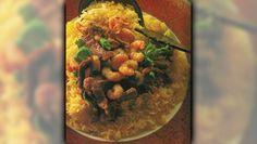 Allyson Gofton - Yellow gold Crispy Pork & Prawns on Saffron Rice Saffron Rice, Crispy Pork, Prawn, Chana Masala, Beef, Yellow, Ethnic Recipes, Gold, Meat