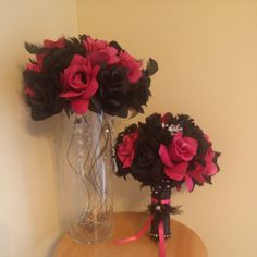 Pink and black wedding  #centerpiece #bouquet #kreativecreations