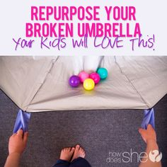 turn your broken umbrella into a parachute! i still want an actual parachute, but this is cool! 4 Kids, Diy For Kids, Cool Kids, Crafts For Kids, Children, Indoor Activities, Craft Activities For Kids, Craft Ideas, Kid Activites