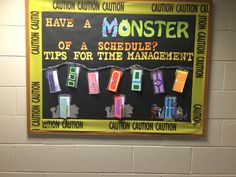 Have a monster of a schedule Ra bulletin board about time management with doors that open with tips inside