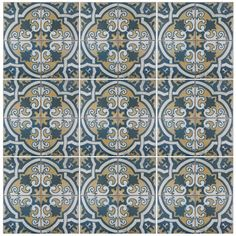 "Found it at AllModern - Royalty Canarsie 17.75"" x 17.75"" Ceramic Field Tile in Blue/White/Yellow"