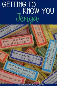 A great ice breaker for getting to know students! 57 fun and engaging questions for you and your students to answer.  There are two sizes included. One is compatible with the standard Jenga and the other fits Target's Jumble which can be found in their Do