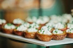 Twelve Baskets Catering Open House// stuffed baby red potatoes // Angela and Evan Photography