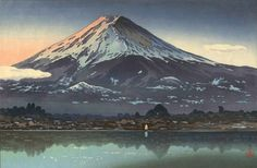 Morning Fuji from Lake Kawaguchi, by Tsuchiya Koitsu, 1936 -- See also at: http://www.castlefinearts.com/search_results_detail.php?searchByArtist=&searchArchives=113&pageno=17&pn=2&rpp=9 and at: http://www.artelino.com/archive/artist_catalog_show.asp?act=go&alp=&art=1096&cay=0&pp=12&pp1=1&rp=114&rp1=1&rp2=114&lvl=2&sea=&tie=Koitsu%20Tsuchiya%201870-1949%20-%20Mt.Fuji%20and%20Lake%20Kawaguchi%20-%20artelino#
