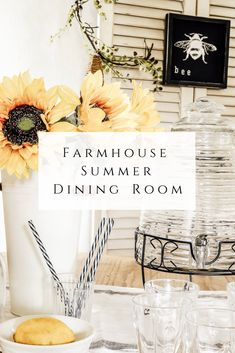 Farmhouse Summer Dining Room - She Holds Dearly - - Come tour this Farmhouse Summer Dining Room and get ideas for incorporating yellows and bee themed decor. Farmhouse Bedroom Decor, Farmhouse Style Kitchen, Rustic Farmhouse, Yellow Dining Room, Dining Room Design, Dining Rooms, Home Decor Inspiration, Seasonal Decor, Room Tour