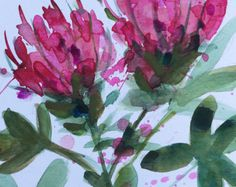 Pink Tulips no. 6 Original Floral Watercolor by prattcreekart