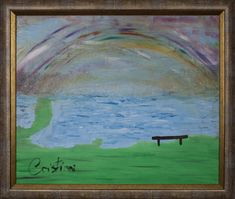 Conversations at the Lake with You.  Mongolia experience.   New York painting by Cristiani.   Oil on Canvas