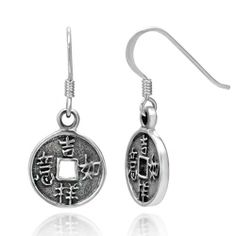 925 Sterling Silver Chinese Ancient Coin Coinage Round Dangle Hook Earrings 1.1'' Good Luck and Weath, Fortune Jewelry for Women, Teens - Nickel Free Chuvora. $22.99. Size : 1.3 x 2.7 cm. Weight: 3.4 g. Packaging: Black Velvet Pouch. Marked .925 Sterling Silver
