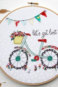 "Bicyclette en appliqué et broderie : Lets Get Lost Summer Embroidery Hoop Art (by ""Flamingo Toes"")"