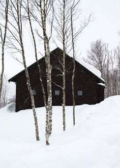 Okay now this is just a lovely image of a cabin in winter.... I can just imagine lots of beautiful snuggly quilts and a big pot belly stove.