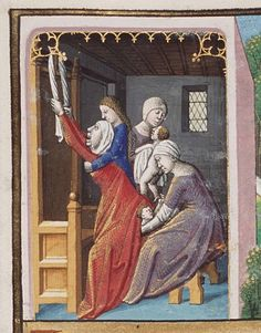 Suspended birthing position.  Birth of Jacob and Esau - Hague MS MMW 10 A 11, Maitre Francois (illuminator), c. 1475