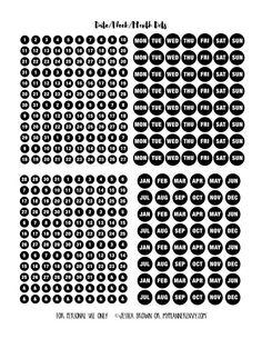 Date Dot Sampler for Bullet Journalling and other planners on myplannerenvy.com