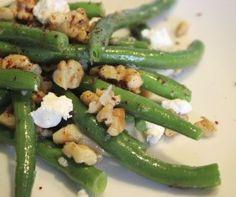Salade de haricots verts au fromage de chèvre.