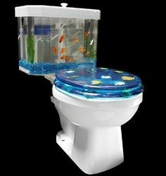 The Fish 'n Flush Toilet Tank Aquarium is the ultimate in potty training bribery. Who wouldn't want to spend hours in the bathroom if you have an aquarium on Aquarium Design, Aquarium Kit, Aquarium Ideas, Wall Aquarium, Betta Aquarium, Aquarium Stand, Cool Ideas, Inventions Sympas, Conception Aquarium