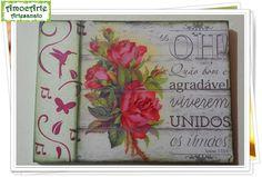 """Quadro decorativo """"salmo"""" madeira http://amocarte.blogspot.com.br/"""