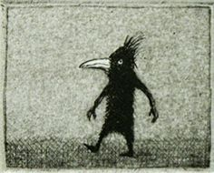 "Hannu Hyrske ""Ensiaskel"" Fabulous Beasts, Best Poems, Illustration Art, Illustrations, Scarecrows, Birds 2, Printmaking, Smoking, Creatures"