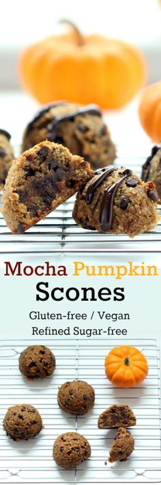 Nutritionicity | Recipe: Mocha Pumpkin Scones offering a rich, buttery, chocolaty flavor, but free from all that ails you--not your average biscuit! (Gluten-free, Vegan/Plant-based, Refined Sugar-Free, Oil-free) Get the recipe and process photos at http://www.nutritionicity.com/recipes/recipe-mocha-pumpkin-scones-gluten-free-vegan-refined-sugar-free-oil-free/