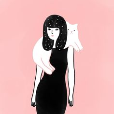 "3,691 Likes, 21 Comments - Agathe Sorlet (@agathesorlet) on Instagram: ""Girl Cat . . . #girl #cat #rose #pink #woman #illustration #drawingoftheday #chat #agathesorlet…"""