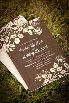 Woodland Bliss wedding invitations and matching stationery from Evermine {www.evermine.com}