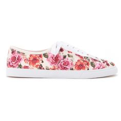 Forever 21 Women's  Floral Canvas Low-Tops ($15) ❤ liked on Polyvore featuring shoes, sneakers, platform shoes, canvas sneakers, lace up sneakers, canvas shoes and forever 21 sneakers
