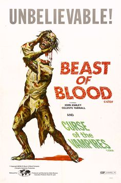 Double feature: Beast of Blood (1971, Philippines / USA) / Curse of the Vampires (Ibulong mo sa hangin) (1966, Philippines) | terror bmovie poster