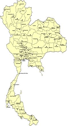 Landkaart-Thailand-Provincies