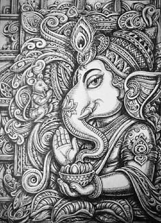 Ganesha design art with pen on paper / By : sukhdev Bhanderi Ahmedabad , india Ganesha Drawing, Lord Ganesha Paintings, Ganesha Art, Krishna Art, Ganesha Sketch, Krishna Painting, Kerala Mural Painting, Indian Art Paintings, Spirituality