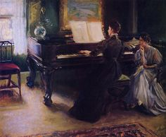 Two Sisters at the Piano by Mary Brewster Hazelton