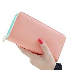 FXTXYMX Clutch Wallets Leather Bifold Organizer Wallet Wristlets For Women Teen Girls (Pink)