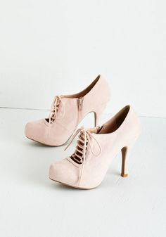 Can't Stop Blushing Heel. You could choose to play coy when you lace up these blush-pink heels, but it may prove difficult once the compliments roll in! #pink #prom #modcloth