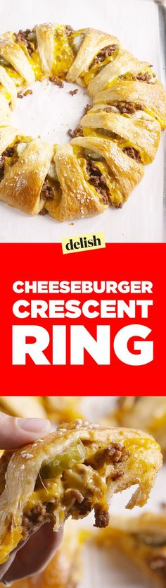 This cheeseburger crescent ring is the smartest way to feed your hungry squad. Get the recipe on http://Delish.com.