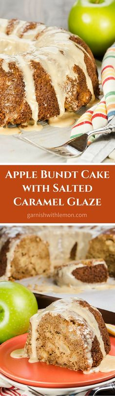 Apple Bundt Cake with Salted Caramel Glaze is a one bowl cake that has apple chunks in every bite! Can you ever go wrong with apples, cinnamon and caramel? ~ http://www.garnishwithlemon.com (Bake Apples Cinnamon)