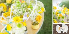 Kristin colors were yellow, white and gray with touches of aqua. Her cute birds added so much to the flowers.