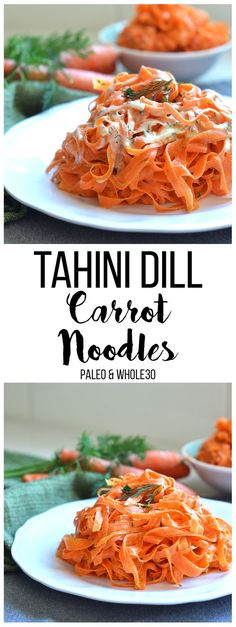 Healthy Recipes These Tahini Dill Carrot Noodles are a Paleo and and the perfect side dish for easter or any occasion! - These Tahini Dill Carrot Noodles are a Paleo and and the perfect side dish for easter or any occasion! Just a few simple ingredients! Carrot Recipes, Raw Vegan Recipes, Vegan Foods, Vegetable Recipes, Vegetarian Recipes, Healthy Recipes, Vegan Raw, Recipes With Tahini, Dill Recipes
