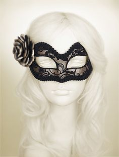 Silver Black Lace Masquerade Mask   Silver Venetian by SOFFITTA