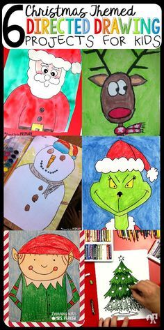 6 christmas themed directing drawing projects for kids christmas writing, noel christmas, christmas stuff Preschool Christmas, Christmas Crafts For Kids, Christmas Themes, Christmas Drawings For Kids, Christmas Writing, Christmas Christmas, 2nd Grade Christmas Crafts, Christmas Activities For School, Classe D'art