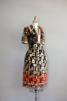 Oscar de la Renta / 1970s metallic dress / Danae dress
