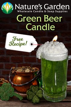 Green Beer Candle Recipe is a festive homemade candle project from Natures Garden Candle Making. This diy beer candle shows how to make beer candles. Diy Gifts For Men, Cool Gifts, Fun Diy Crafts, Diy Craft Projects, St. Patrick's Day Diy, Diy Beauty Projects, Garden Candles, Soap Supplies, Weekend Crafts